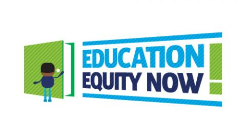 Illusatration of a person standing infront of a large green book - Education Equity Now logo